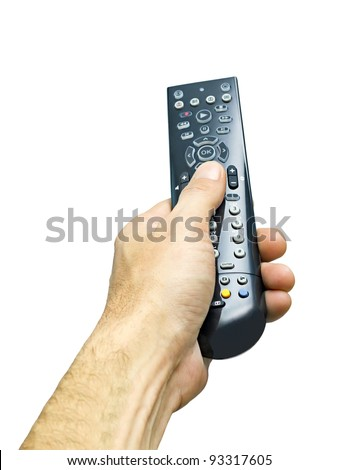 remote control in man's hand isolated on white background - stock photo