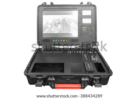 Remote Control of a war drone U.A.V aircraft military mission isolated on white background with clipping path - stock photo