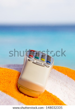 remote control on background of sky. Shallow depth of field - stock photo