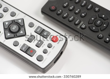 remote control selection focus button power - stock photo