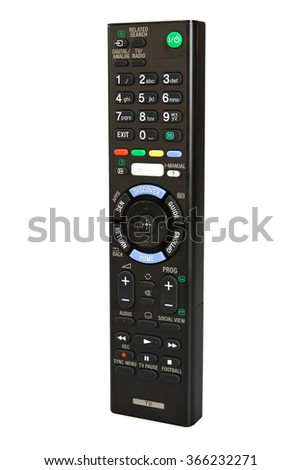 Remote control smart TV isolated on a white background - stock photo