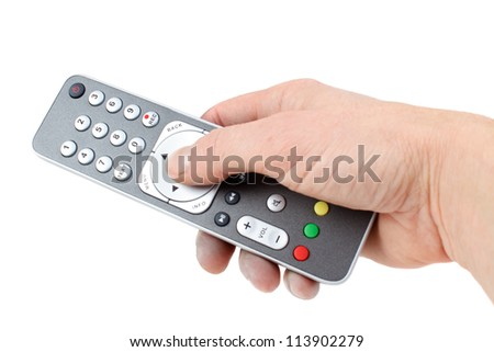 Remote control unit of digital receiver, isolated on white - stock photo