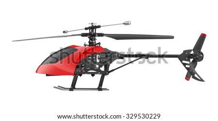 Remote controlled helicopter isolated on white background - stock photo