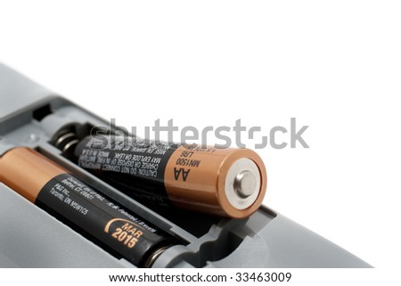 Remote Controller for TV or DVD with different angle and usage with white background - stock photo