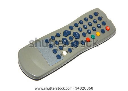 Remote controller, isolated on white background - stock photo