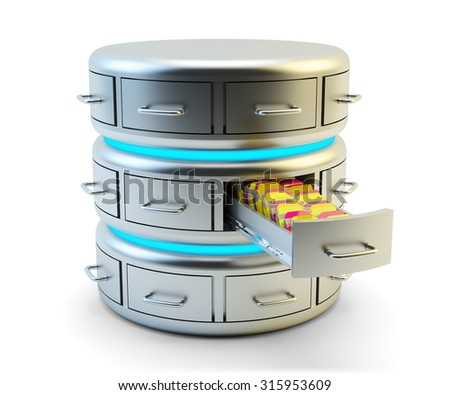 Remote data storage, cloud computing service and network server technology concept, database with drawers and computer files isolated on white background - stock photo