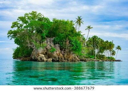 Remote desert tropical island, Banyak Archipelago, Aceh, Indonesia, Southeast Asia - stock photo