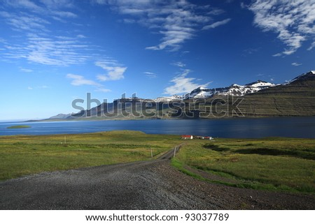 Remote farm in Reydarfjordur, Iceland - stock photo