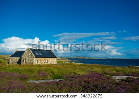 Remote House in Connemara in Ireland - stock photo