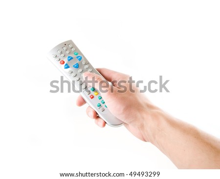 remote in a hand on the white - stock photo