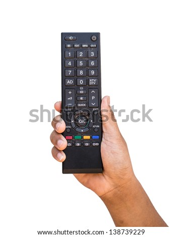 Remote in hand and white isolate - stock photo
