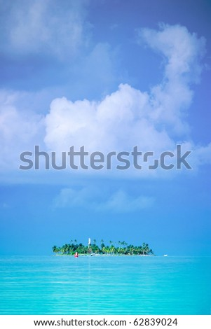 Remote Island in the ocean - stock photo