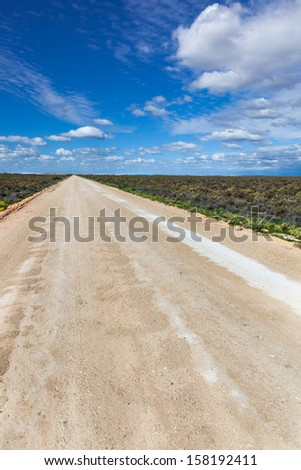 remote New South Wales you can see for miles and roads are dead straight - stock photo