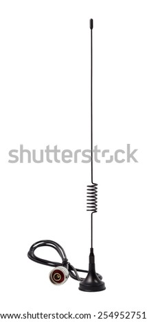 Removable standard gsm antenna isolated on a white background - stock photo