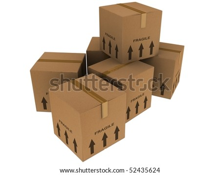 removal boxes isolated on white - stock photo