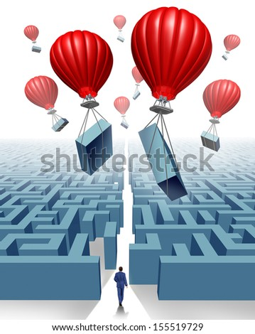 Removing the obstacle business concept of freedom and thinking outside the box as a metaphor for management leadership solutions with a group of red air balloons lifting parts of a maze or labyrinth. - stock photo