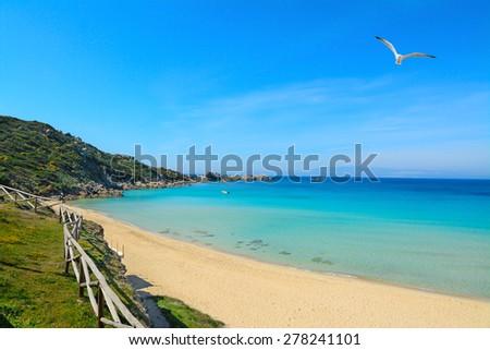 rena bianca shoreline on a clear day, Sardinia - stock photo