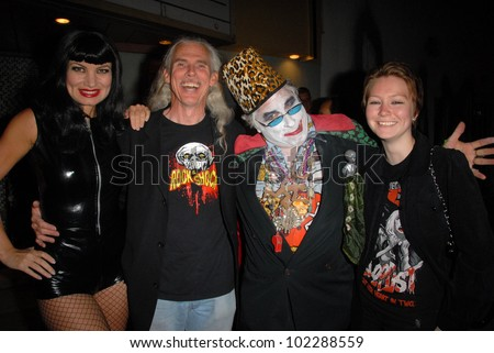"""Rena Riffel. Camden Toy, Count Smokula and guest at a midnight movie screening of Rena Riffel's """"Trasharella"""" as part of the  Vampire-Con Film Festival, New Beverly Cinema, Los Angeles, CA. 06-25-10 - stock photo"""