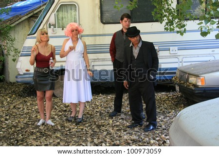 "Rena Riffel, Jade Paris, Steve Williams and Clinton Wallace on the set of the movie ""Showgirl,"" Private Location, Los Angeles, CA. 10-12-10"