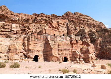 Renaissanca tomb, Wadi al-Farasa valley, Petra, Jordan - stock photo