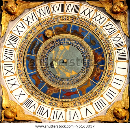 Renaissance Astronomical clock in Brescia, Italy (1540-50). Displays hours, moon phases and the zodiac. - stock photo