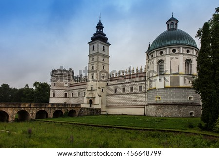 Renaissance castle in Krasiczyn in southeastern Poland - stock photo