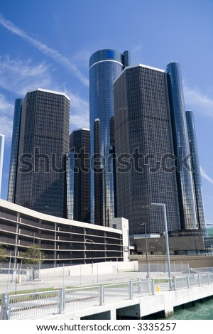 Renaissance Center in downtown Detroit, Michigan - stock photo