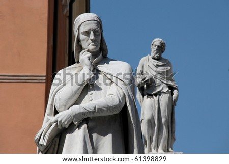 Renaissance Dante Alighieri statue in Verona, North Italy - stock photo