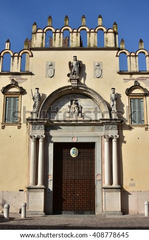 Renaissance portal with statues of angel and saints from Verona Cahtedral Bishop Palace (16th century)