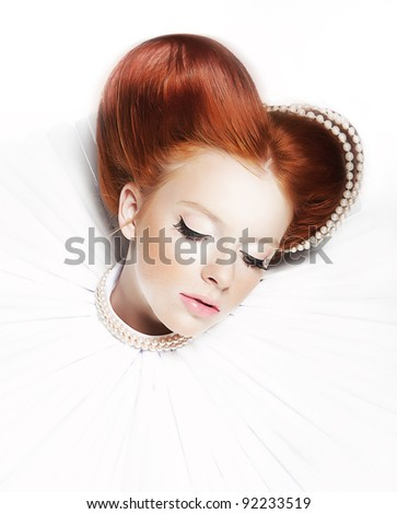 Renaissance Style - Dreamy cute Girl - Redhead Freckled Lady with Pearly Necklace and stagy Dramatic Makeup. Series of photos