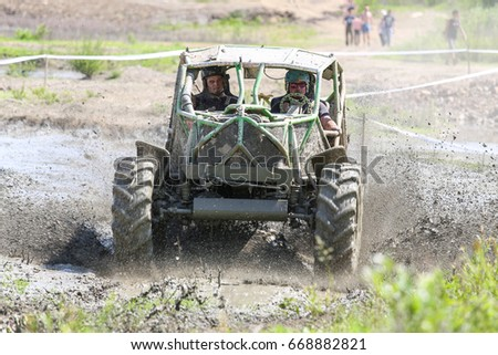 "Rence, Slovenia - May 28, 2017: Off road car race in the mud, 4x4 vechile on the rally race ""Off Road Rence 2017"""