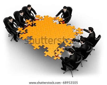 Render business team work building a puzzle isolated over a white background - stock photo