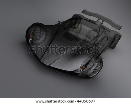 render car with a grid - stock photo