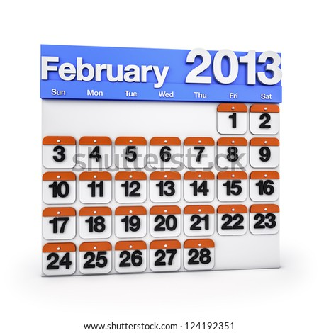 Render colorful Calendar for February 2013 - stock photo
