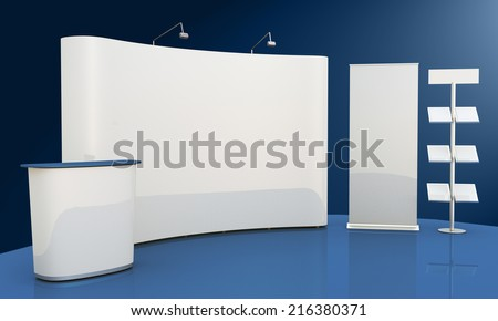 Render commercial stands, display of products at the fair - stock photo