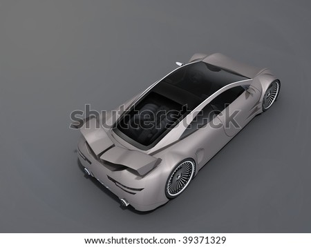 render 3D car behind on a white background - stock photo