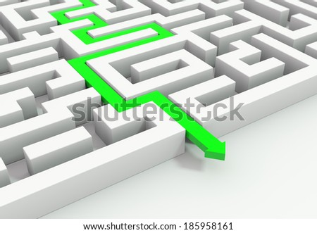 render 3D illustration of a green arrow leading through a maze - stock photo