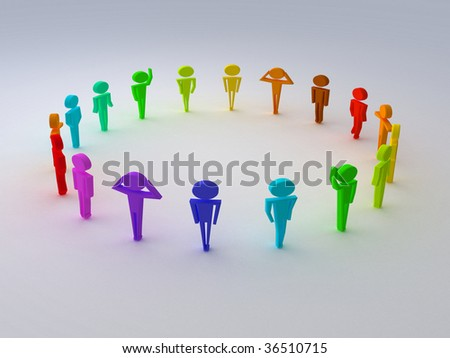 render different colors of people - stock photo