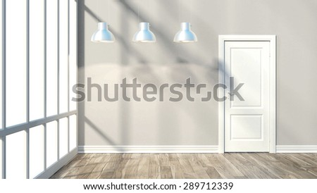 render empty room modern interior with door - stock photo