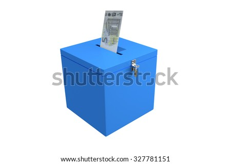 Render illustration of a money bill been inserted into a symbolic election ballot box, isolated on white. - stock photo