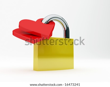 render illustration of a padlock's lovers