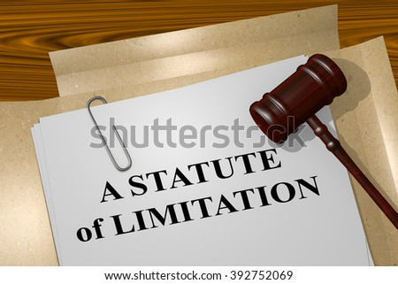 Render illustration of A Statute of Limitation title on Legal Documents. Legal concept. - stock photo