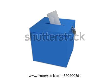 Render illustration of ballot box, isolated on white. - stock photo