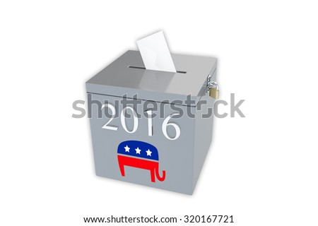Render illustration of ballot box with the print 2016 and the Republican elephant image, isolated on white. - stock photo