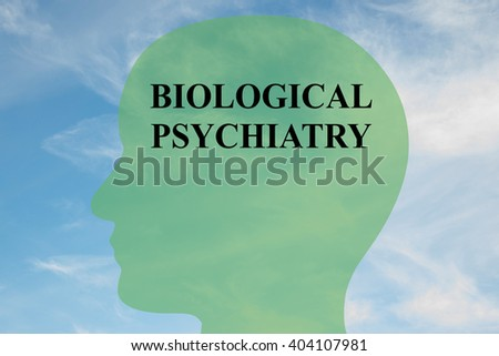 Render illustration of BIOLOGICAL PSYCHIATRY script on head silhouette, with cloudy sky as a background. Human brain concept. - stock photo