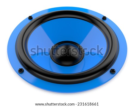 Render illustration of blue sound speaker on white