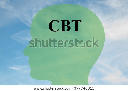 Render illustration of CBT script on head silhouette, with cloudy sky as a background. Human mentality concept. - stock photo