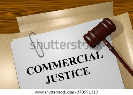 Render illustration of Commercial Justice title on Legal Documents