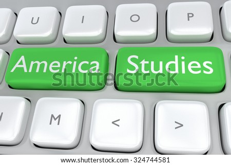 Render illustration of computer keyboard with the print America Studies on two adjacent green buttons - stock photo