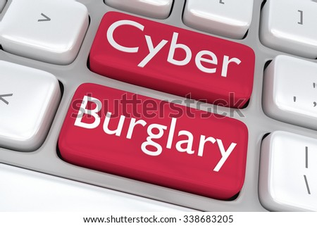 Render illustration of computer keyboard with the print Cyber Burglary on two adjacent red buttons - stock photo